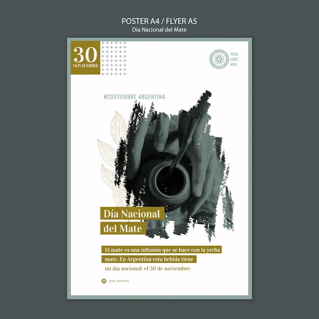 Argentina national mate drink event poster Free Psd