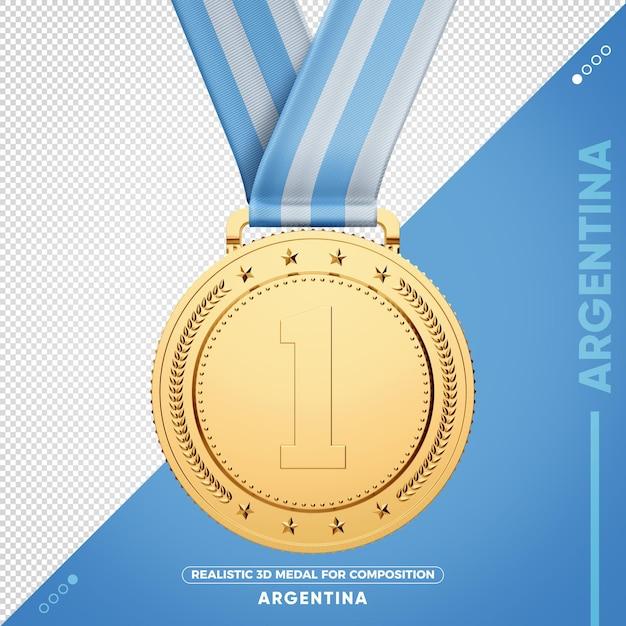 Золотая медаль аргентины 3d по составу Premium Psd