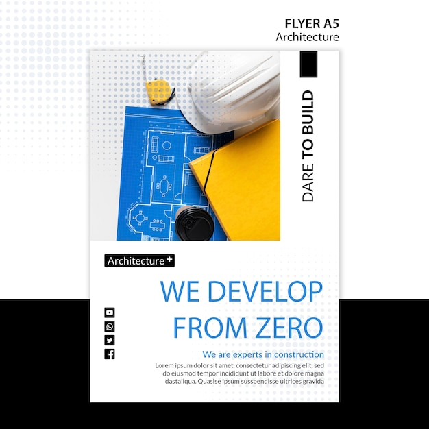 Шаблон флаера для архитектуры Бесплатные Psd