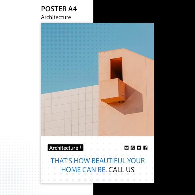 Шаблон постера концепции архитектуры Бесплатные Psd