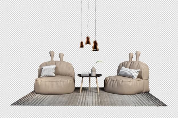 Кресла в горшках в 3d визуализации Premium Psd