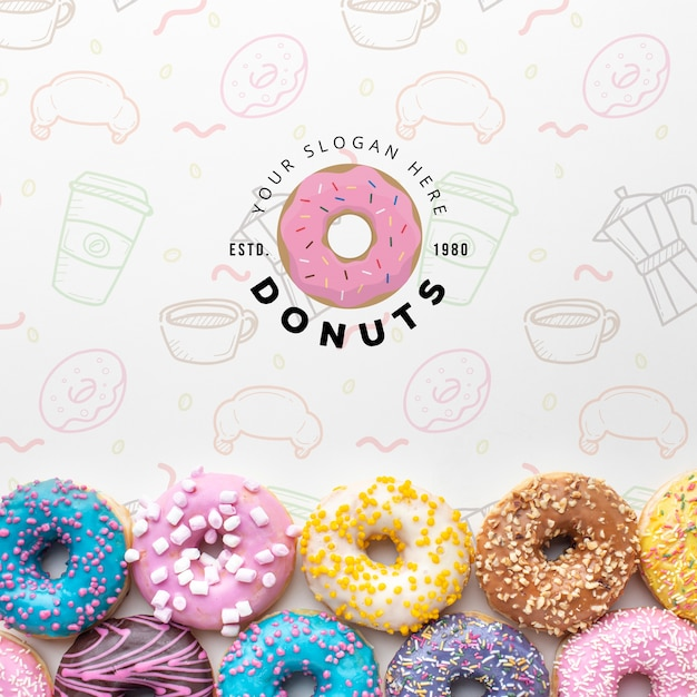 Download Colorful Donuts And Coffee With Mock Up Free Psd