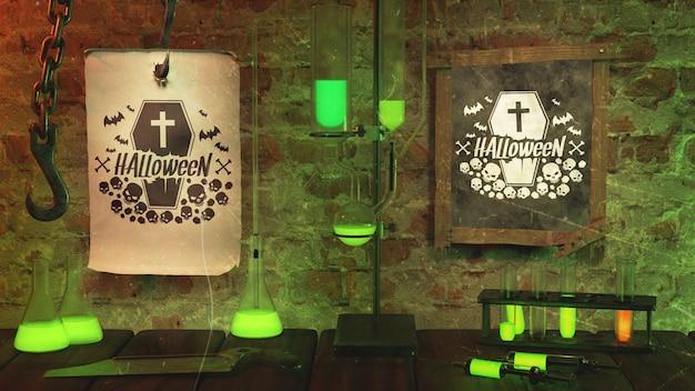 Arrangement for halloween celebration with green light Free Psd