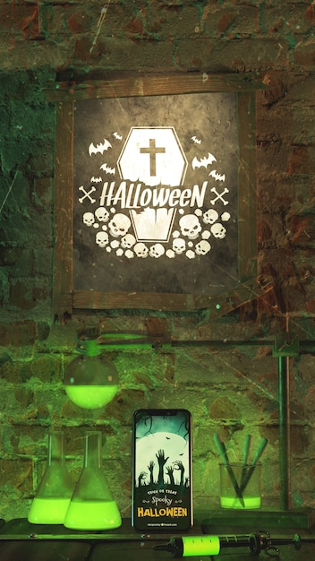 Arrangement for halloween event with frame Free Psd