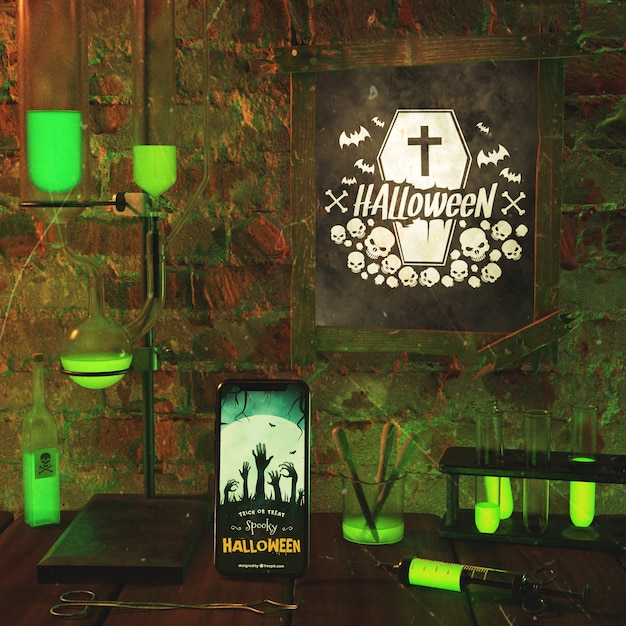 Arrangement for halloween event with neon light Free Psd