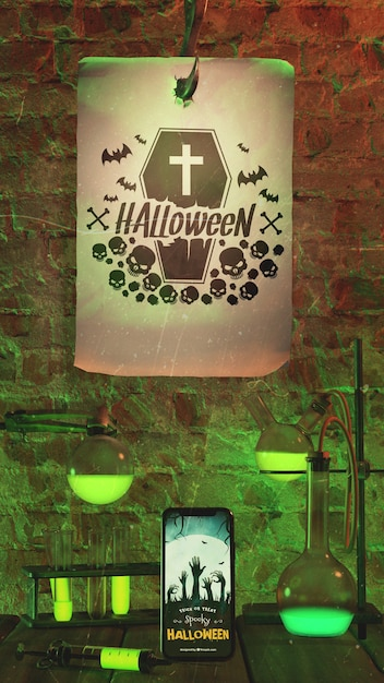 Arrangement for halloween event with old paper Free Psd