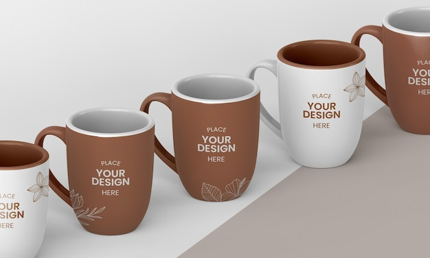 Arrangement of minimal coffee mugs Free Psd