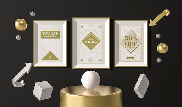 Arrangement of white sale frames and 3d geometrical shapes Free Psd