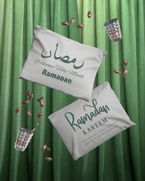Arrangement with falling ramadan pillows and dried dates Free Psd