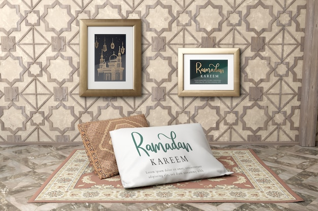 Arrangement with frames on wall and pillow on carpet Free Psd
