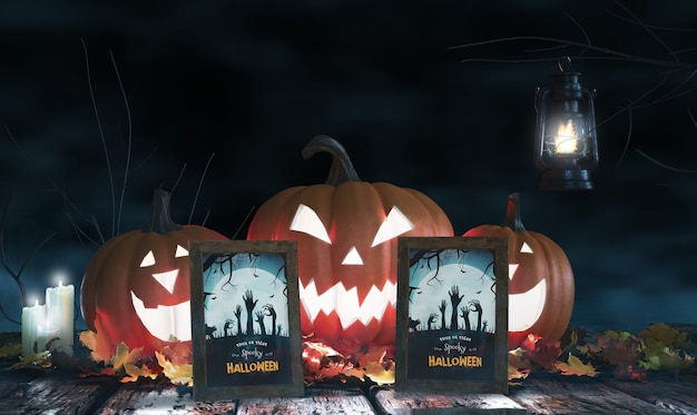 Arrangement with scary pumpkins and framed horror posters Free Psd