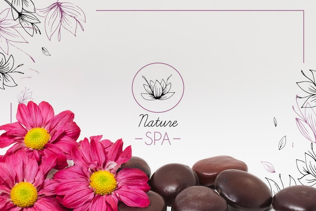 Arrangement with stones and flowers for spa salon template Premium Psd