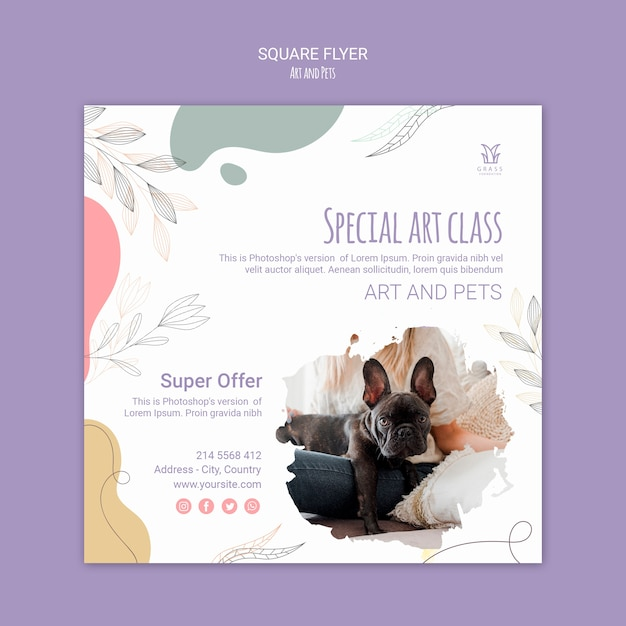 예술과 애완 동물 전단지 개념 템플릿 무료 PSD 파일