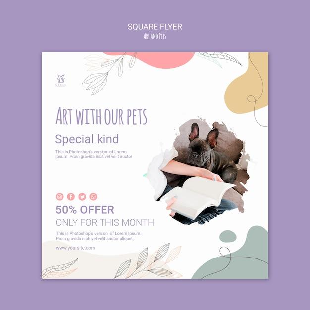 예술과 애완 동물 전단지 템플릿 개념 무료 PSD 파일