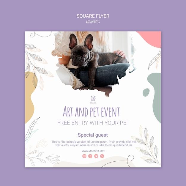 예술 및 애완 동물 전단지 템플릿 디자인 무료 PSD 파일