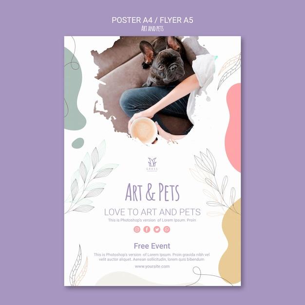 예술과 애완 동물 포스터 템플릿 테마 무료 PSD 파일