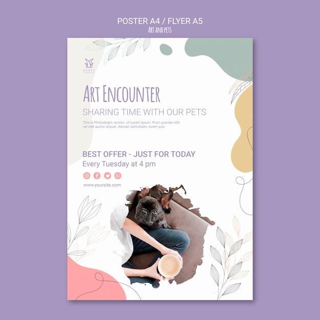 예술과 애완 동물 포스터 템플릿 무료 PSD 파일