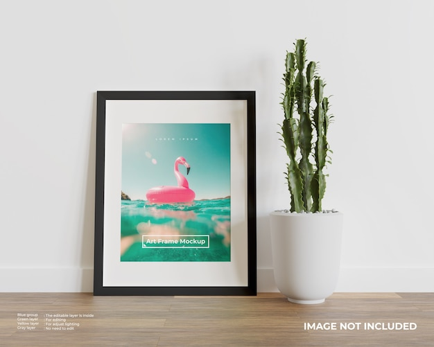Art frame mockup on wood floor Premium Psd