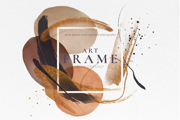 Art frame with painted brush strokes Free Psd