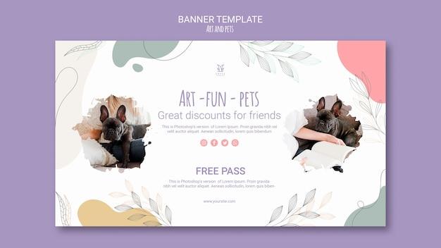 Art and pet banner template design Free Psd