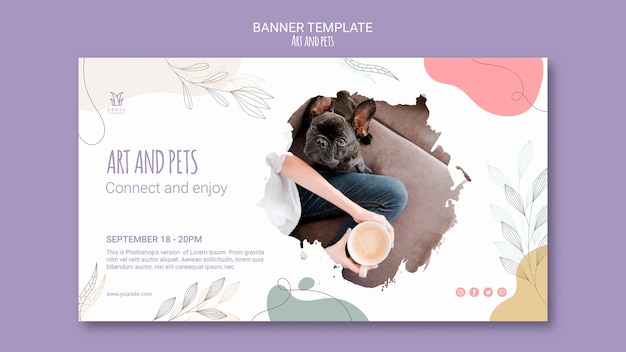 Art and pet banner template Free Psd
