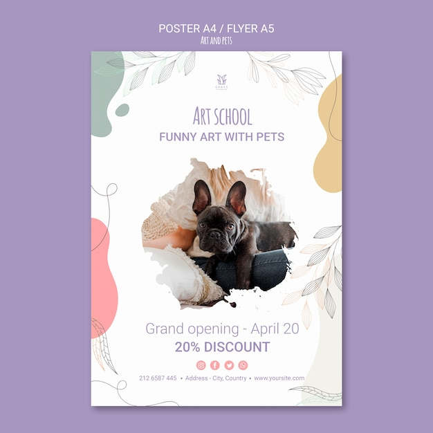 Art and pet flyer template theme Free Psd