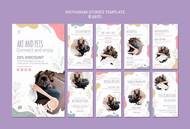 Art and pet instagram stories template Free Psd