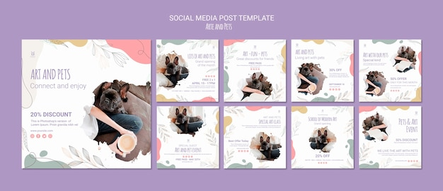 Art and pet social media post template Premium Psd