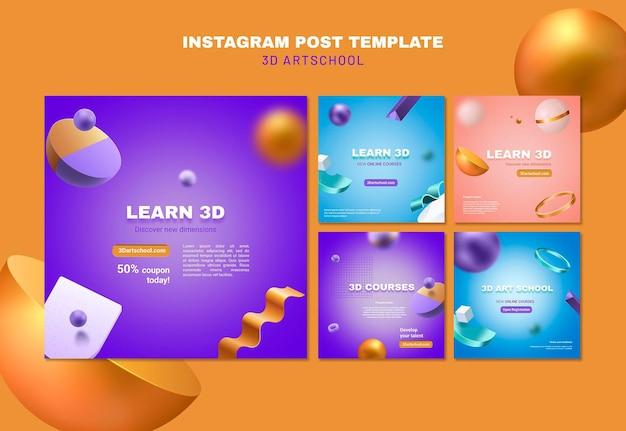 Art school instagram post template Free Psd