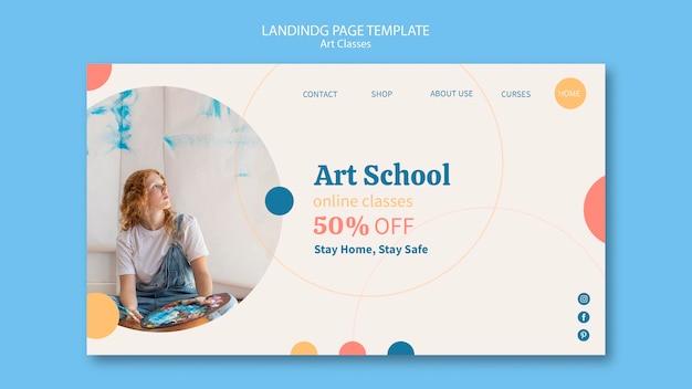 Modello di pagina di destinazione della scuola d'arte Psd Gratuite