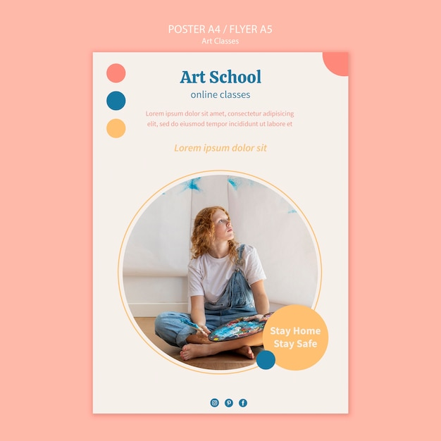 Modello di poster della scuola d'arte Psd Gratuite