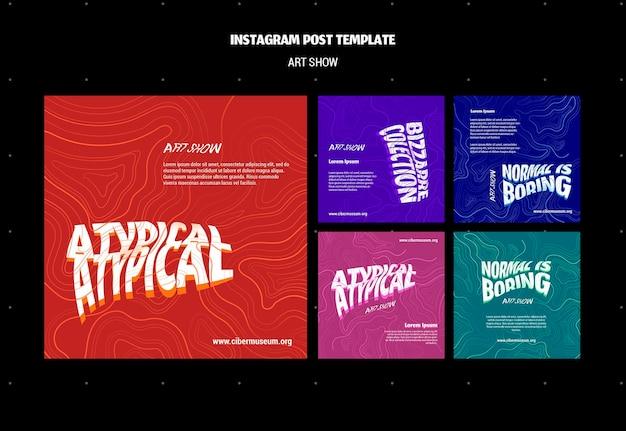 Сообщение в социальных сетях о арт-шоу Бесплатные Psd