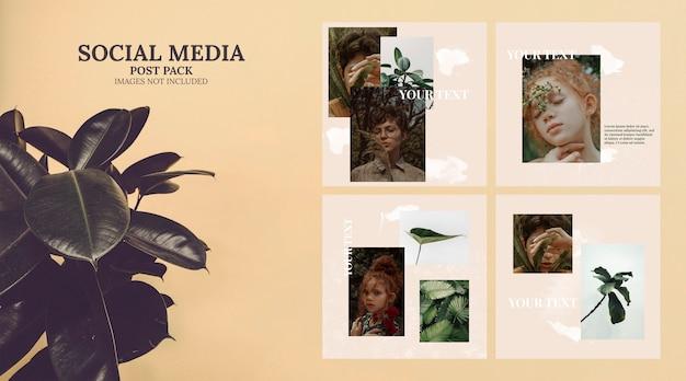Artistic social media template post pack Free Psd