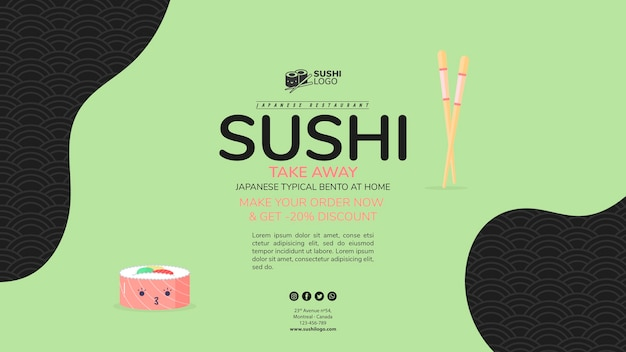 Asian sushi restaurant banner template Free Psd