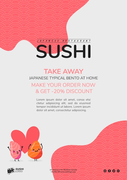 Asian sushi restaurant flyer template Free Psd
