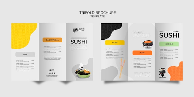 Asian sushi restaurant trifold brochure Free Psd