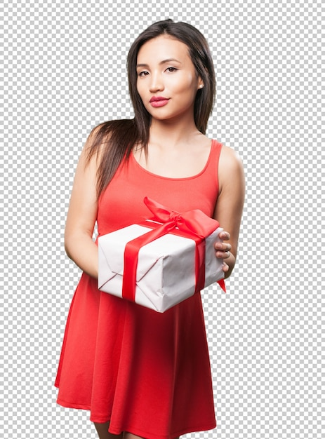 Asian woman holding a gift Premium Psd