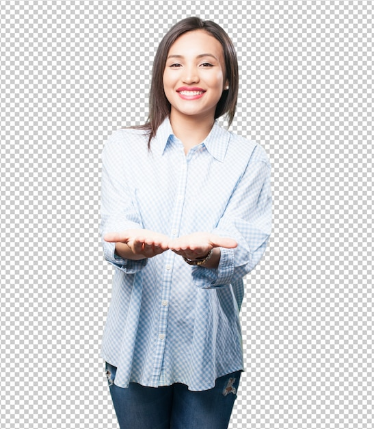 Asian woman holding something Premium Psd