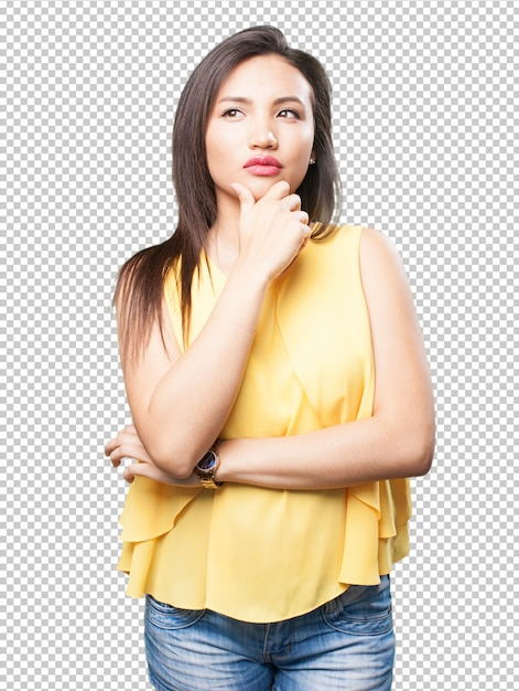 Asian woman thinking Premium Psd