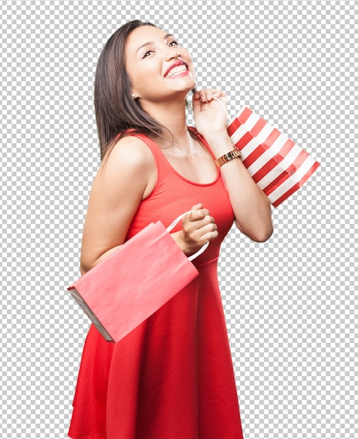 Asian woman with shopping bags Premium Psd