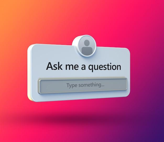 Фрейм интерфейса «задать вопрос» в трехмерном плоском дизайне для публикации в социальных сетях Premium Psd