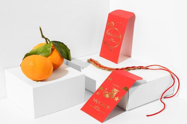 Assortimento di mock-up di elementi di capodanno cinese Psd Gratuite