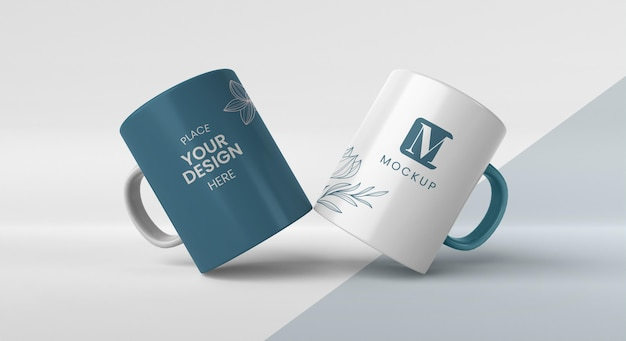 Assortment of minimal coffee mugs Free Psd