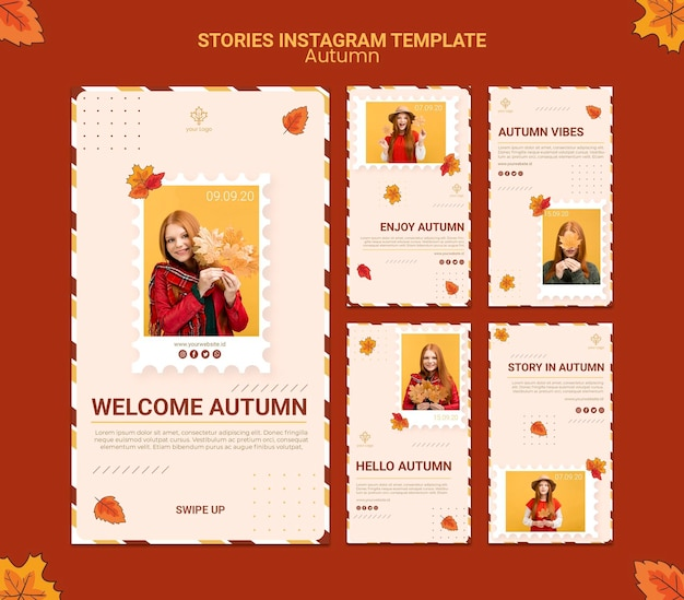 Autumn ad instagram stories template Free Psd
