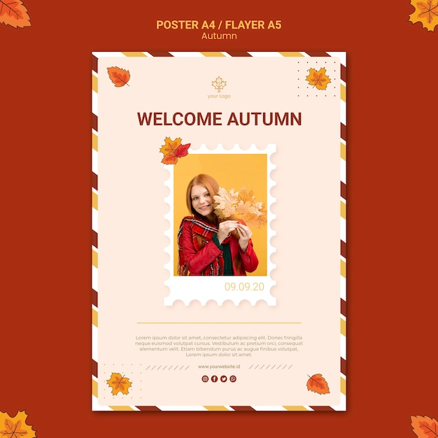 Autumn ad poster template Free Psd