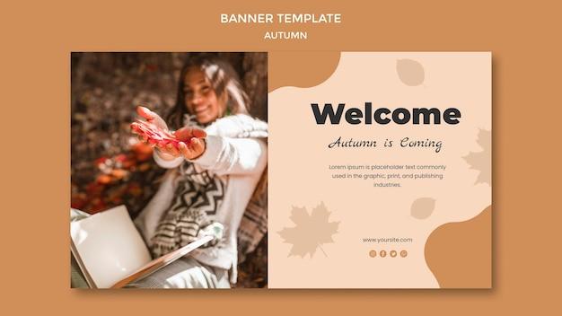 Autumn banner template design Free Psd