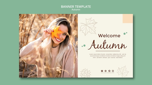 Autumn banner template greetings text Free Psd