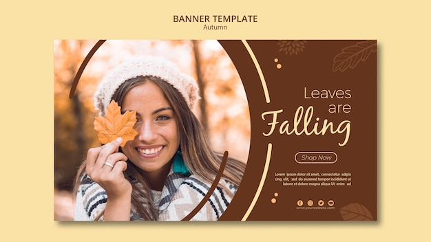 Autumn banner template leaves are falling Free Psd