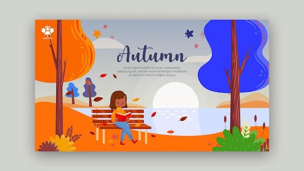 Autumn concept banner template design Free Psd