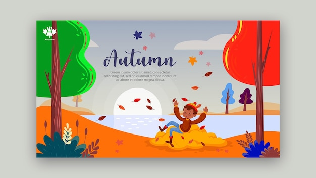 Autumn concept banner template style Free Psd